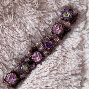 Avon Purple Butterfly Rhinestone Stretch Bracelet